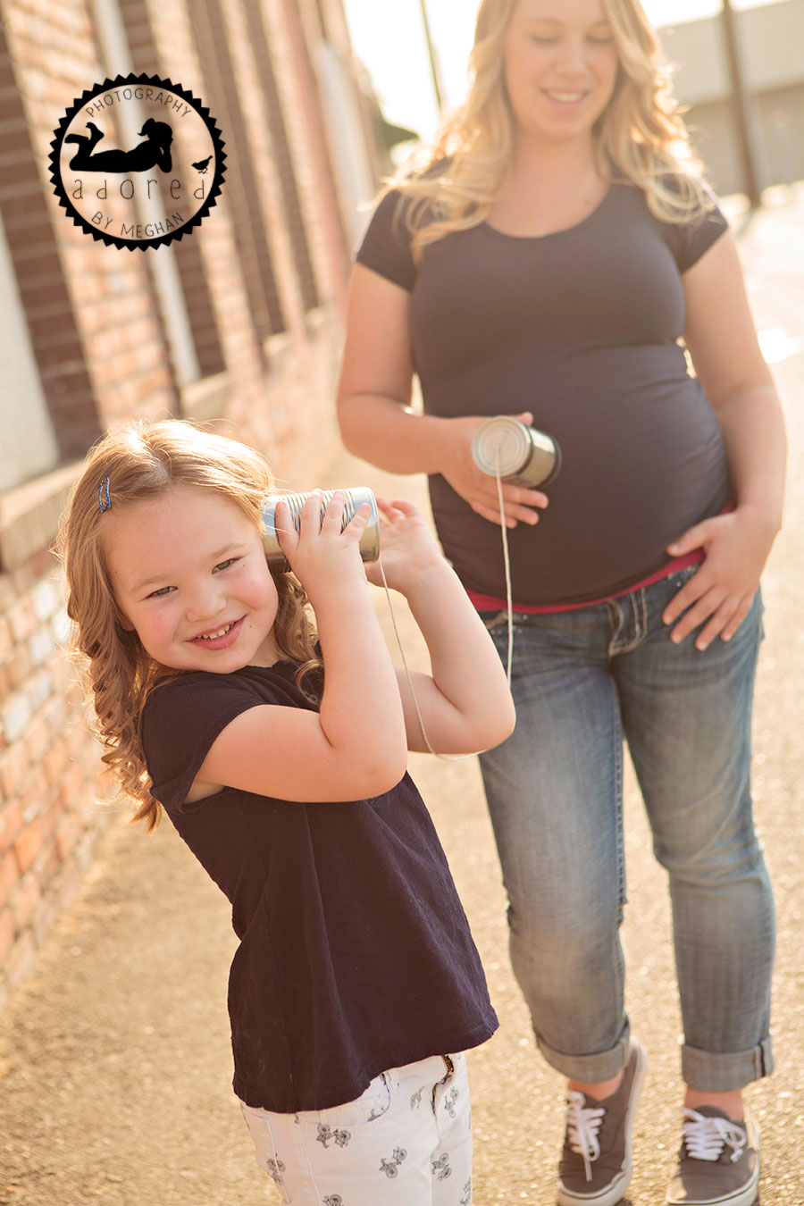 Sister using tin can telephone Kennewick, WA Maternity Photographer Adored by Meghan photography