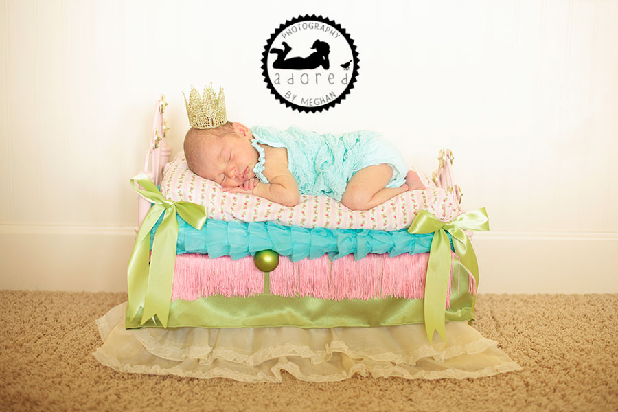 Princess and the Pea on bed Newborn photographer adored by meghan rickard