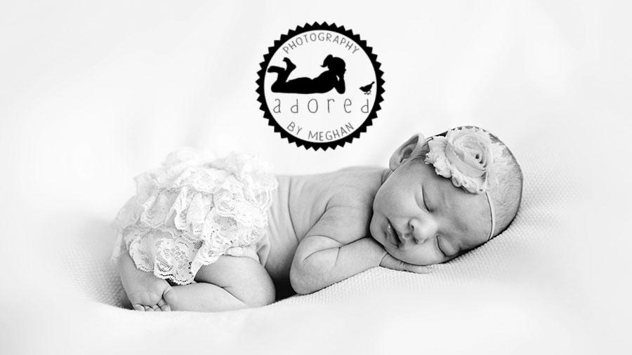 B&W Newborn photographer adored by meghan rickard