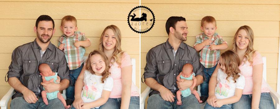 Family on porch Newborn photographer adored by meghan rickard