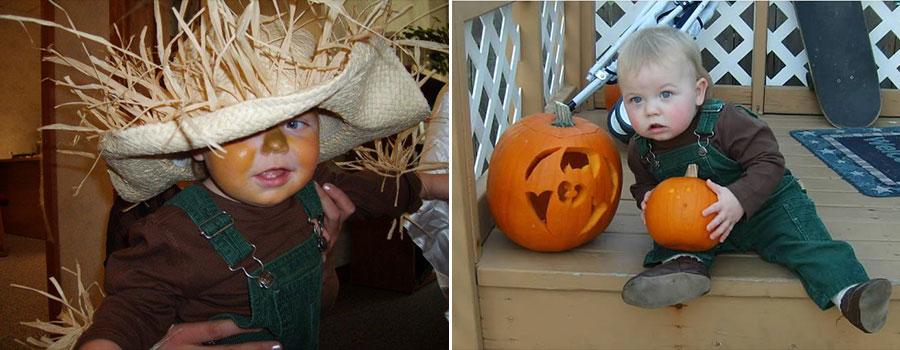 Baby Halloween pumpkin scarecrow