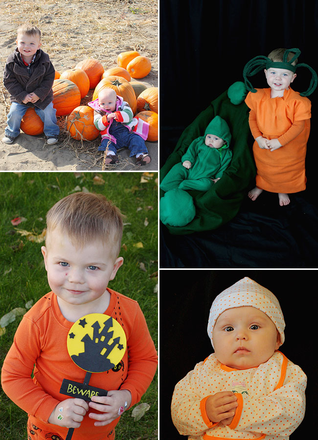 Baby toddler halloween pumpkin patch pea in a pod carrot peas and carrots