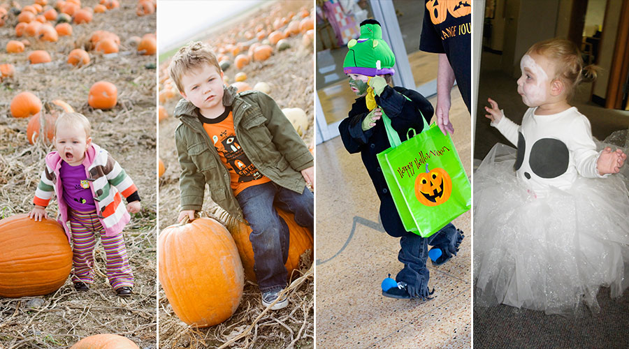 Toddler Halloween pumpkin patch Frankenstein and a ghost