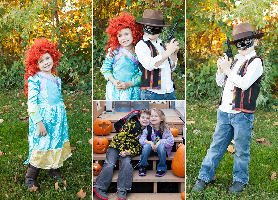 Kids Halloween merida from brave and the lone ranger pumpkins