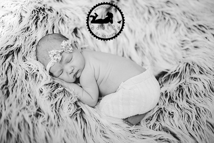 black and white newborn baby girl  adored by meghan rickard photography