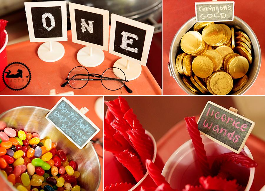 Harry Potter birthday party treats food.  Gringott's gold, Bertie Bott's every flavor beans, licorice wands.
