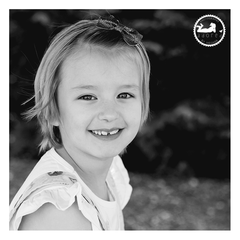 Black and white portrait of a beautiful Daughter. Photo by Adored by Meghan Rickard Photography in Kennewick, WA