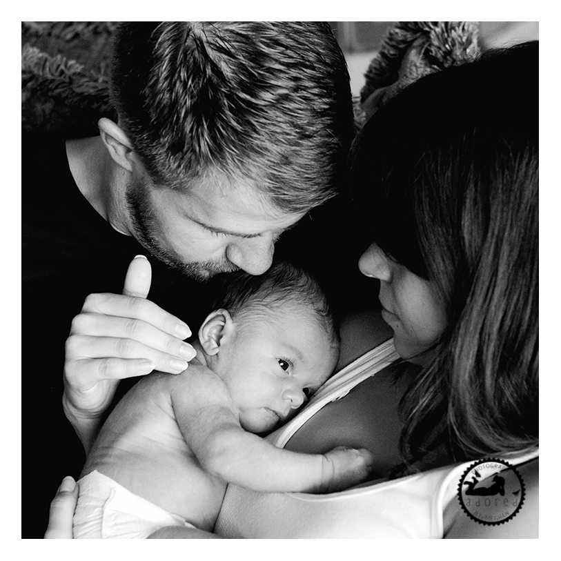 Family portrait with newborn. Black and white, a classic portrait to pass down for generations. Kennewick, WA photographer: Adored by Meghan