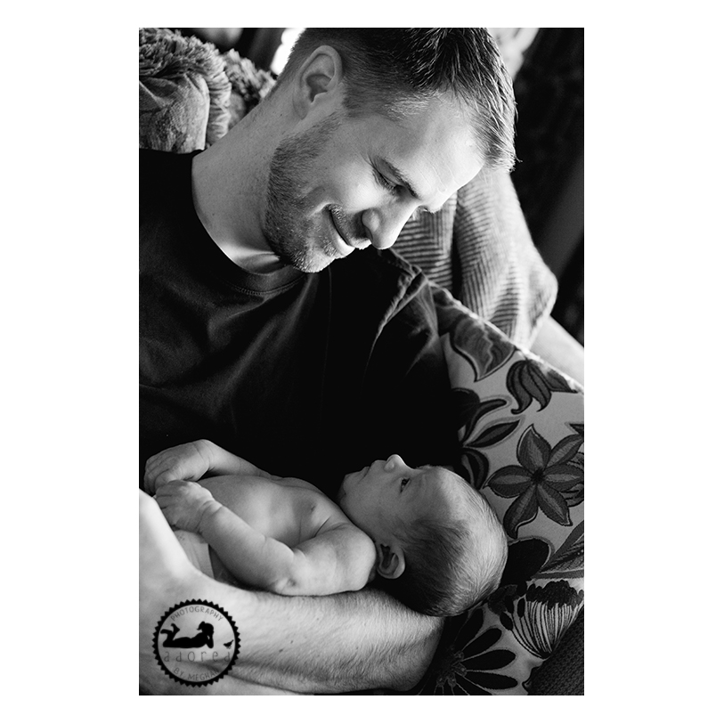 New Father and his newborn Son. Black and white, classic portrait. Photos by Adored by Meghan Rickard Photography, Kennewick, WA