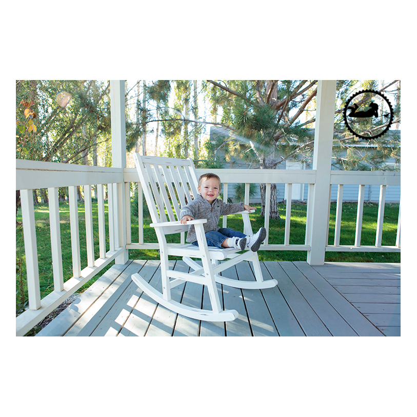 Front porch rocking chair lifestyle childrens photos. Photographer Adored by Meghan in Kennewick WA