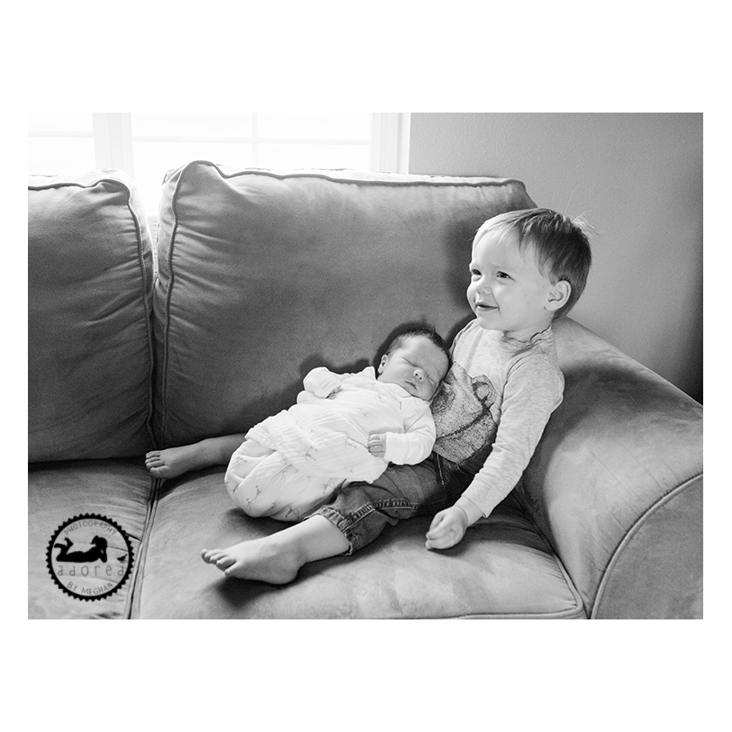 Big Brother and new baby Brother. Lifestyle photography by Adored by Meghan