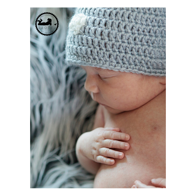 Adorable newborn profile.  Photos by Adored by Meghan.