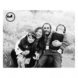 2015 Black & White Favorite Family Photo laughing in the frost