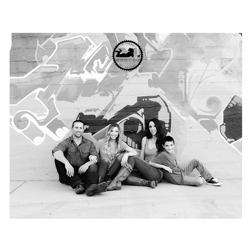 2015 Black & White Favorite Family Photo against graffiti wall in Downtown Kennewick, WA