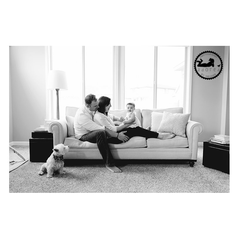 2015 Black & White Favorite Family Photo Dad, Mom, baby and dog in-home, lifestyle portrait session