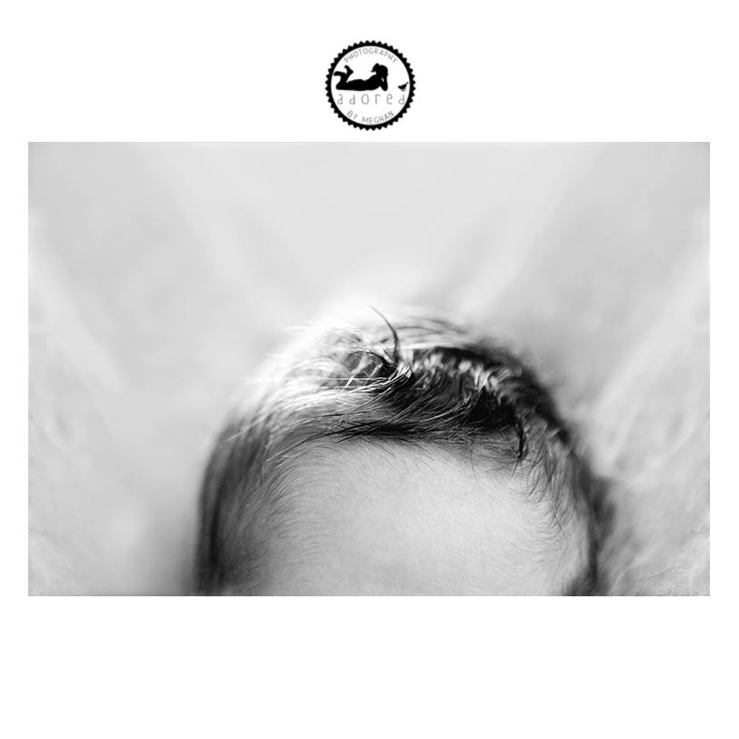 2015 Black & White Newborn Favorite Hair Detail Shot
