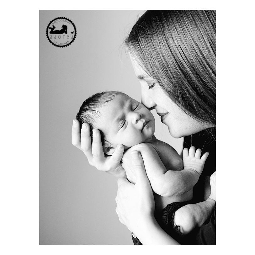 2015 Black & White Newborn Favorite Motherhood Adored snuggling