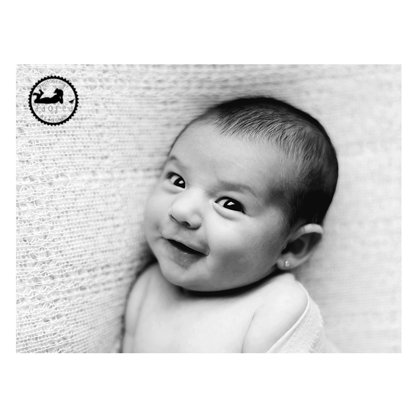 2015 Black & White Newborn Favorite Smiling Baby Girl