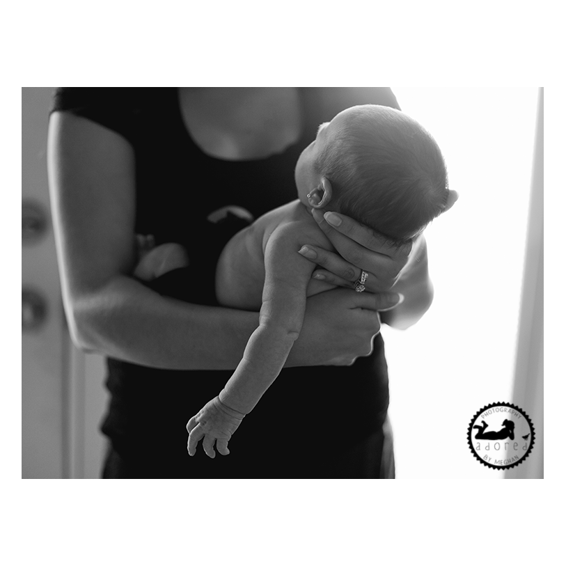 2015 Black & White Newborn Favorite Motherhood Adored holding baby details