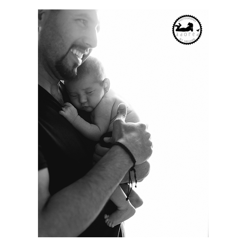2015 Black & White Newborn Favorite Dad holding new baby Daughter