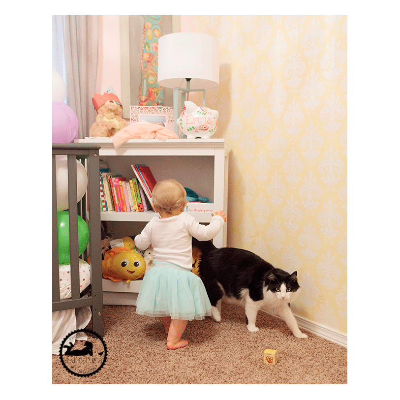 First Birthday, little girl and her cat in her nursery. Tri-Cities, WA Photographer Adored by Meghan