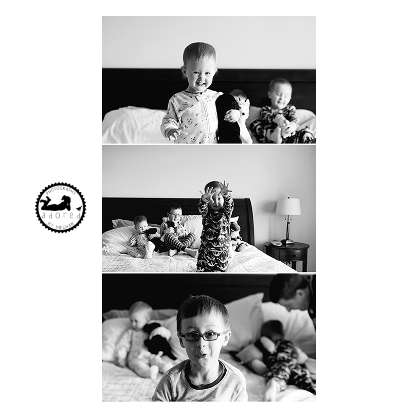 Nothing like being truly 'at home' bouncing around on Mom and Dad's bed. Lifestyle in-home photos done by Adored by Meghan, Kennewick, WA.