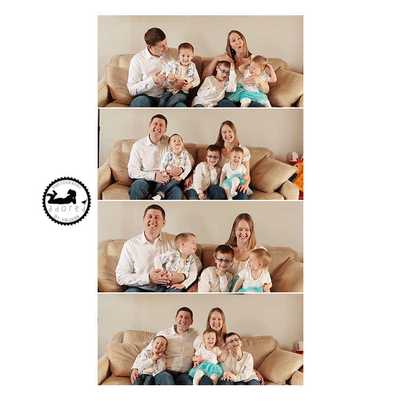 Family piled up on the sofa for some photos. Lifestyle portrait session by Adored by Meghan, Pasco, WA.