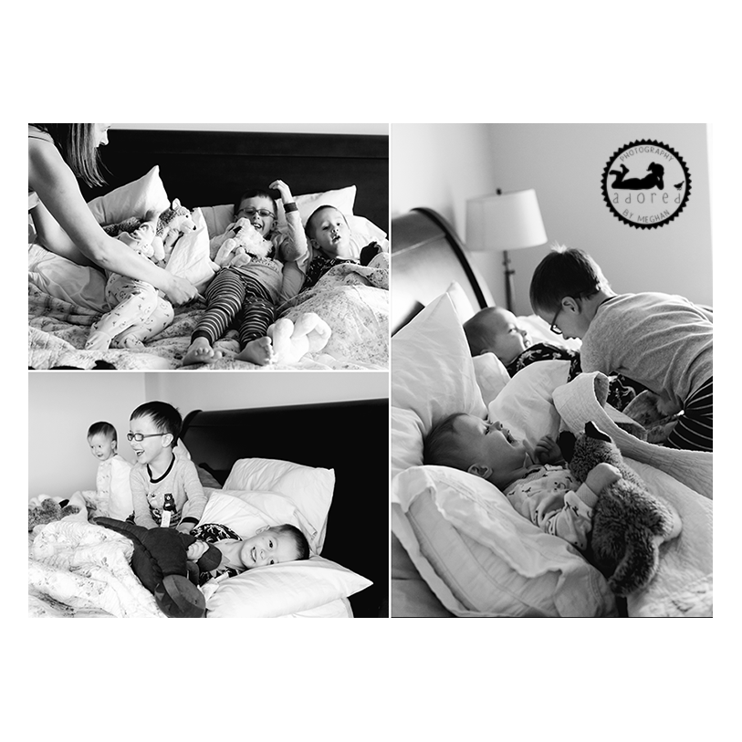 Snuggled up on Mom and Dad's bed. Lifestyle in-home photos done by Adored by Meghan, Kennewick, WA.