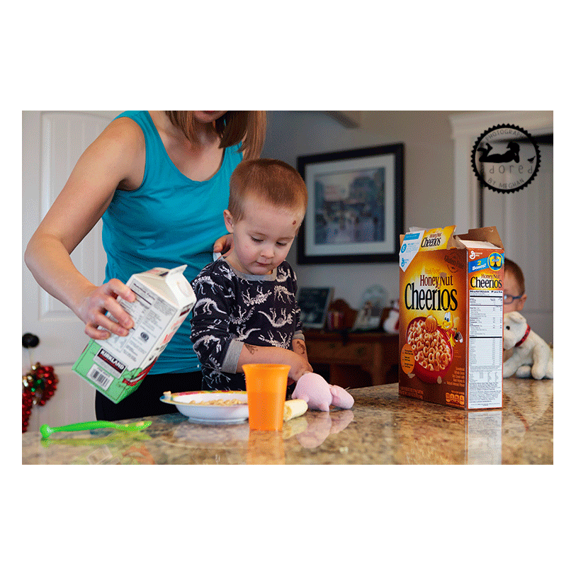 Pouring cereal for your child. Lifestyle in-home family session with Adored by Meghan in Kennewick, WA.