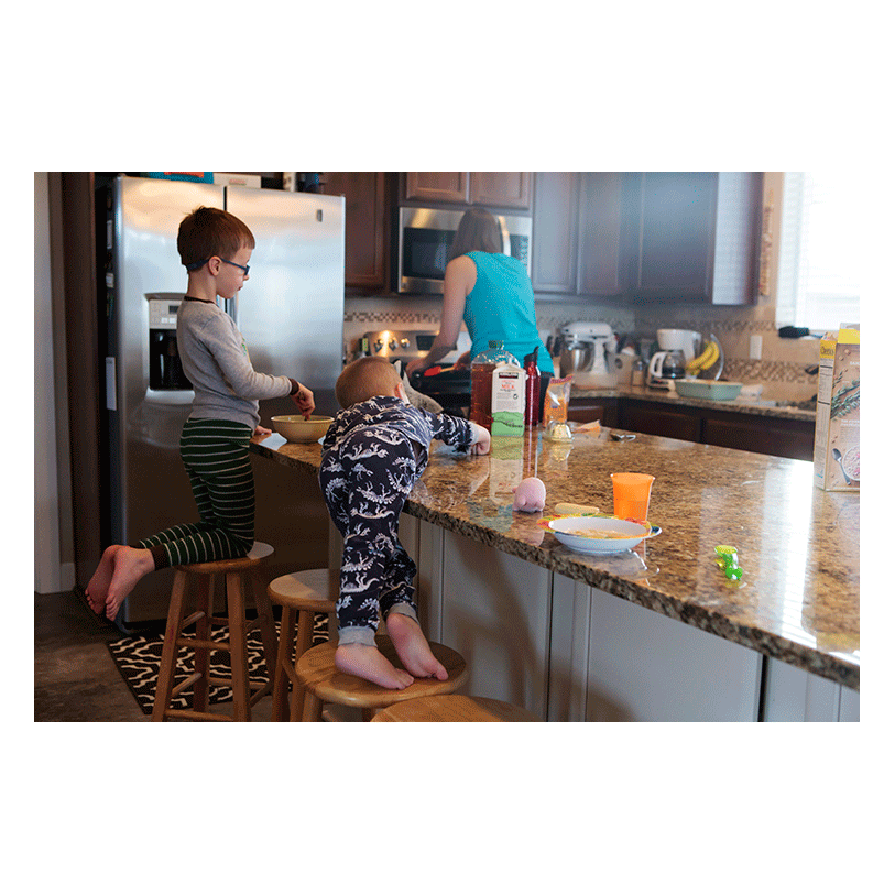 Family breakfast on the weekend. Lifestyle in-home family session with Adored by Meghan in Kennewick, WA.