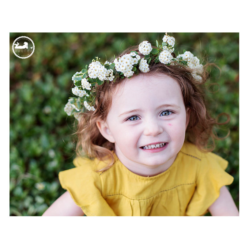 Tri-Cities WA Children's Photographer. Garden sprite, a Mother-Daughter session with Adored by Meghan. A sweet smile and floral crown