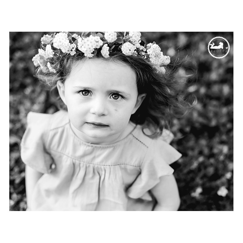 Tri-Cities WA Children's Photographer. Garden sprite, a Mother-Daughter session with Adored by Meghan. A solemn stare and floral halo