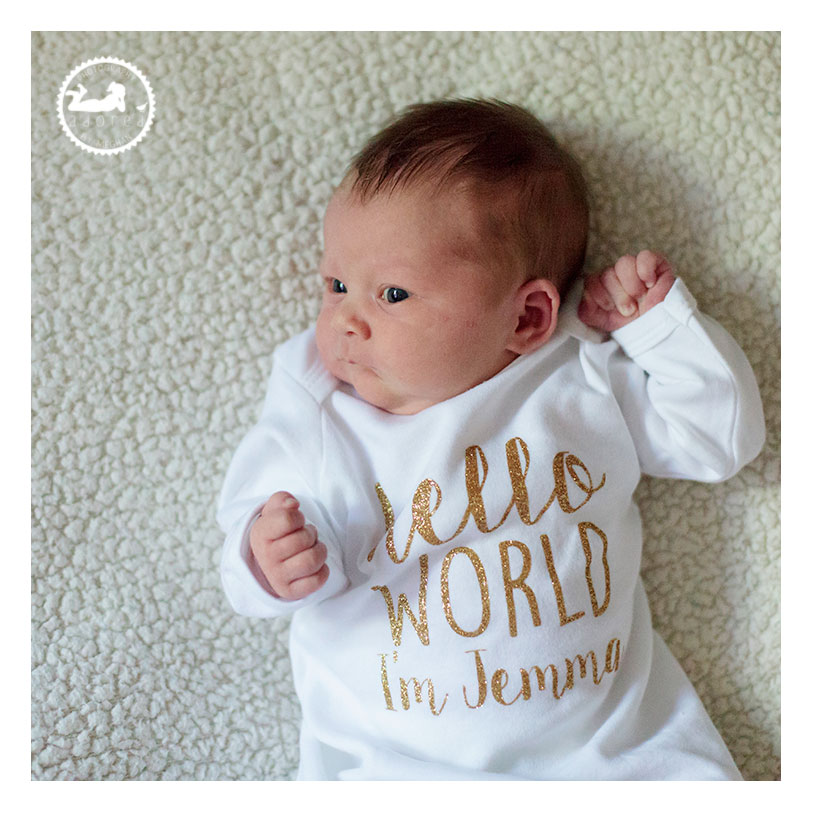 Hello World onesie from Swanky Babies in Pasco, WA. Photographer: Adored by Meghan