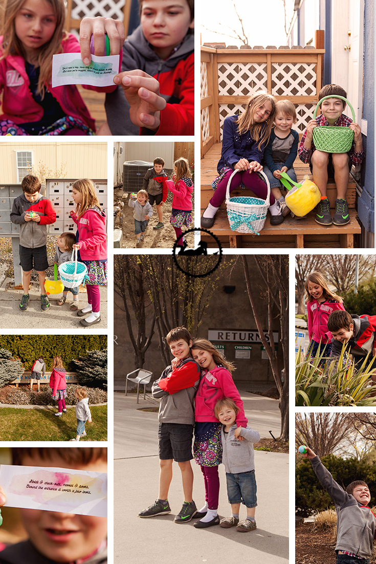 A town-wide Easter egg scavenger hunt with my kids.