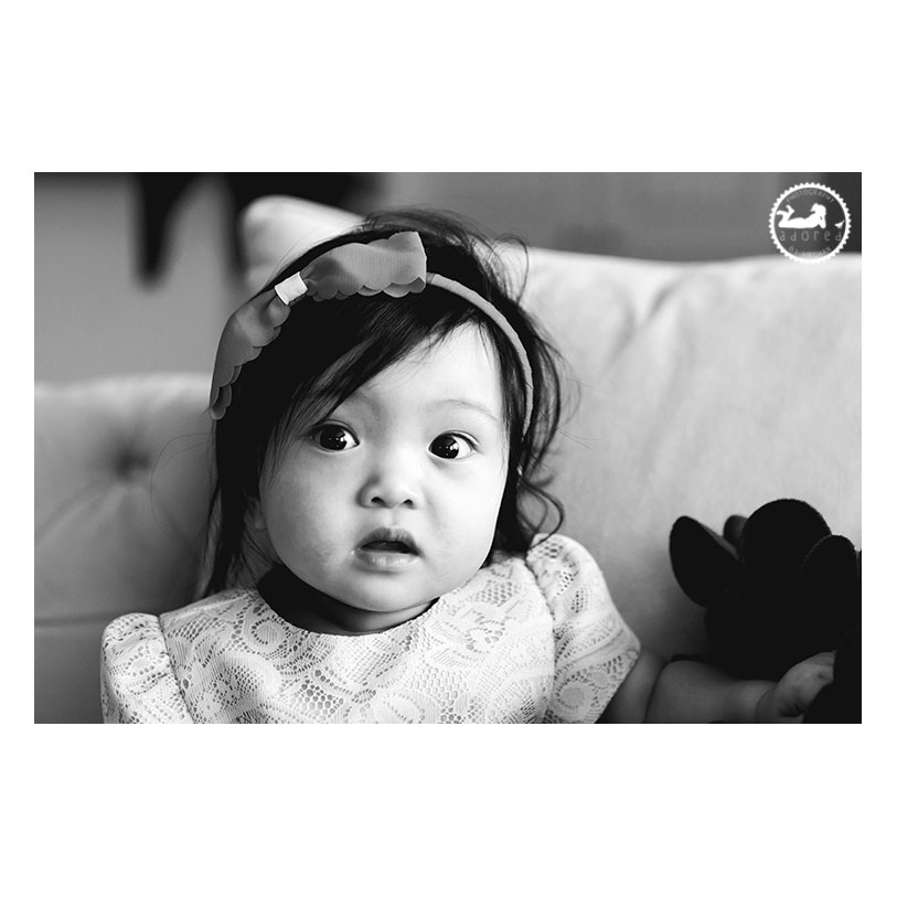 Classic black and white portrait for a baby's first birthday.  Photo by Adored by Meghan, Kennewick, WA