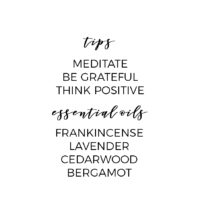 Tips for a healthy Spirit: meditate, be grateful, think positive. Essential Oils for the Spirit: Frankincense, Lavender, Cedarwood, Bergamot