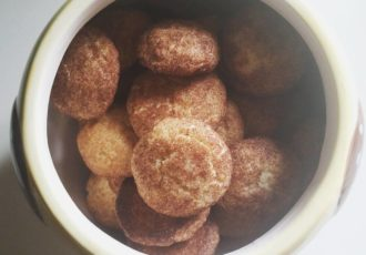 Snickerdoodles in the cookie jar, recipe from Grandma's cookbook.