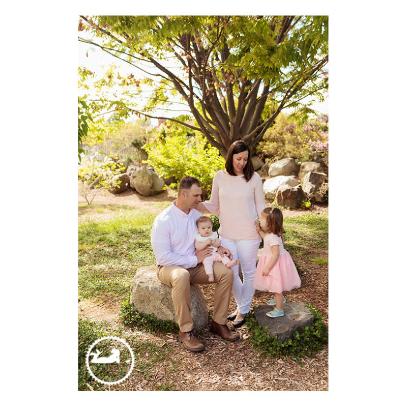 Family professional portrait in the Kennewick Library Union gardens.  Contact Adored by Meghan, Tri-Cities, WA, to schedule your family's next portrait session.