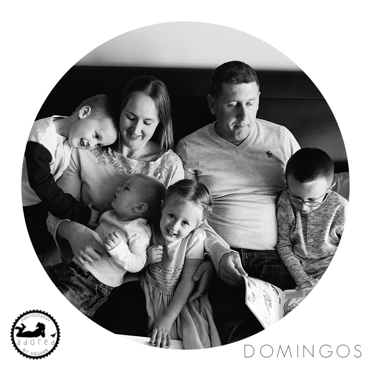 When getting photos done in your home, one of the best places to pile up the family is on Mom & Dad's bed! Snuggles are the best. Portrait by Adored by Meghan, Tri-Cities, WA.