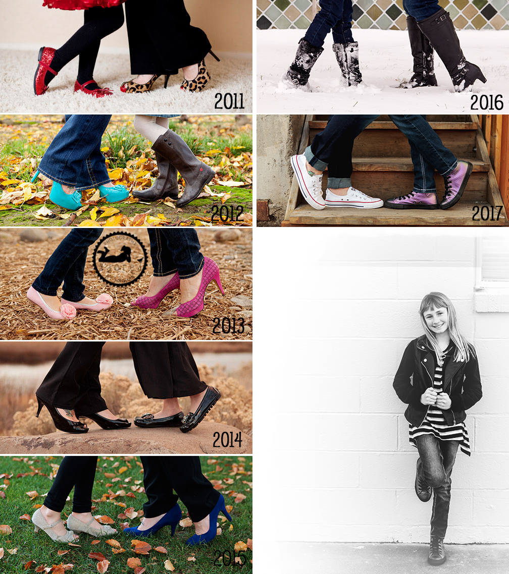 Find a tradition you can have photographed at every yearly family portrait session you schedule. Here is a wonderful example of a Mom & Daughter getting snapshots of their shoes. Imagine all of the different shoes they will wear throughout the years. Photographer Adored by Meghan, Kennewick, WA.