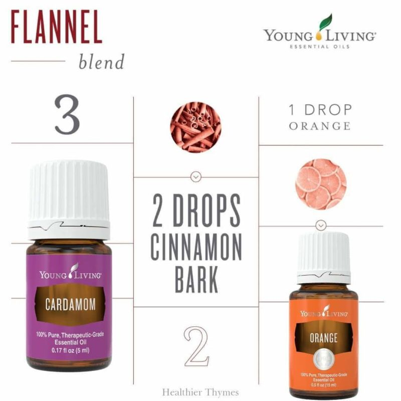 Flannel essential oil diffuser combo by Young Living: Cardamom, Cinnamon Bark, Orange.