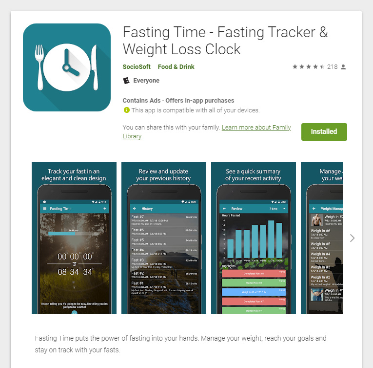 Fasting Time app, for support on your Fasting journey