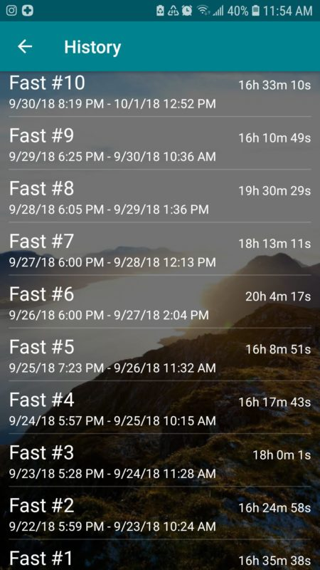 Screenshot of ten fasts on the Fasting Time app.