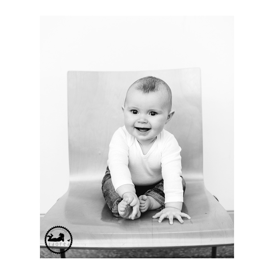 Classic 'tripod' pose of baby's new milestone.  Portrait photographer Adored by Meghan out of Kennewick,WA.