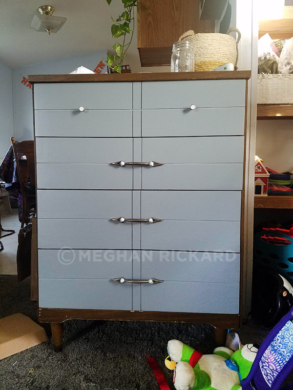 Gray drawers on original wood body during dresser makeover DIY
