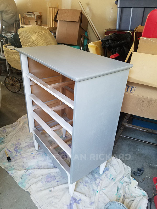 Painted gray dresser body during makeover DIY