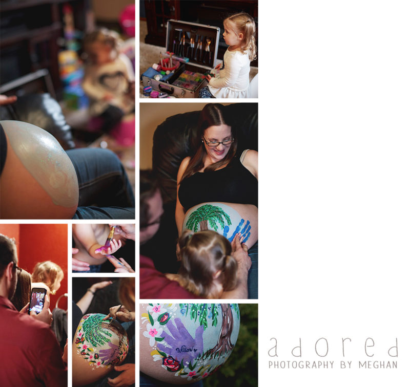 Process of painting a pregnant stomach, photos by Adored by Meghan family photographer