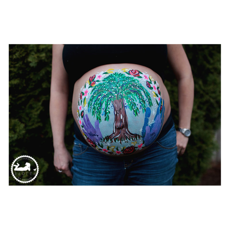 Painted belly during a maternity photo session by Adored by Meghan Kennewick WA