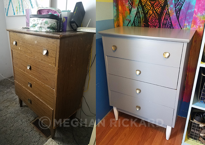 Mid-Century style dresser before and after makeover DIY