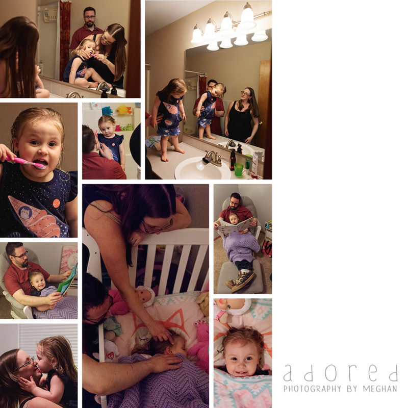 Lifestyle photos of a family getting ready for bed. Portraits by Adored by Meghan Tri-Cities, WA